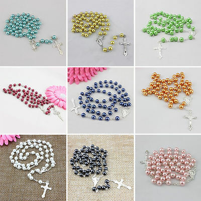Men Women Jewelry Chic Nice Cross Pendant Pearls Rosary Beads Chain Necklace