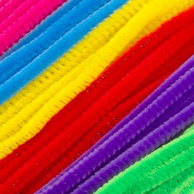 "BRIGHT PIPE CLEANERS 300mm/12"" Multi Coloured Bendy Craft SOFT Stems Chenille"