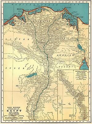 1941 Vintage  MAP of EGYPT 1940s Egypt Map Gift for Map Collector 3358