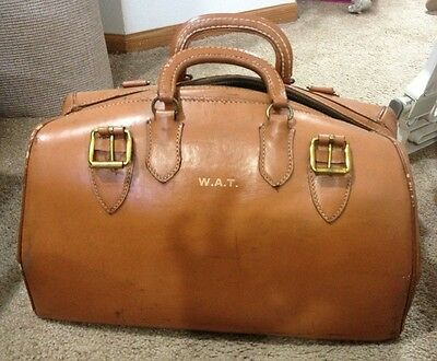 Antique Leather Bag Cowhide Crest New York NY
