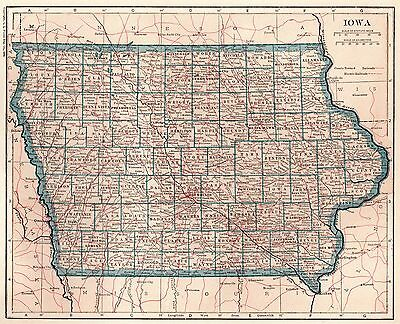 1925 Antique IOWA Map of Iowa State Map Gallery Wall Art Home Decor 3363