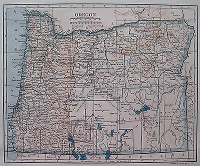 1925 Vintage OREGON MAP of Oregon State Map Gallery Wall Art 3365
