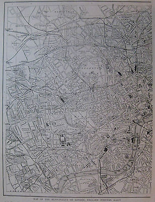 1923 Antique LONDON England Map Vintage CITY Map of London Black and White 3368