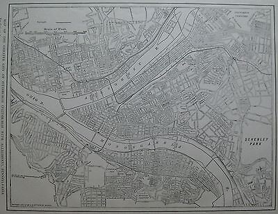 1922 Antique PITTSBURGH Map Black and White Map of Pittsburgh Pennsylvania 3369