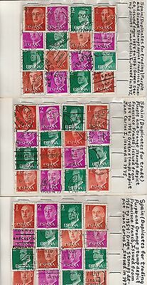 Spain 1954-1975  Franco and Juan Carlos stamps on old approval cards