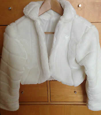 New  Light Ivory Faux Fur Wrap Shrug Bolero Bridal Shawl 8