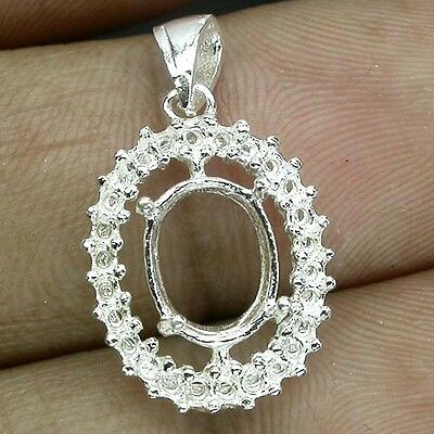 Extremely! Pendant Setting Real Sterling Silver 925 Oval Main Stone 9 X 7 Mm.