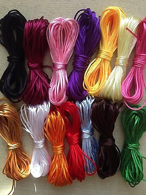 Satin Nylon Cord 2 mm Rattail Thread Kumihimo Shamballa Macrame  10 yards