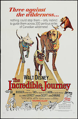 THE INCREDIBLE JOURNEY orig DISNEY  1sheet movie poster BULL TERRIER/SIAMESE CAT