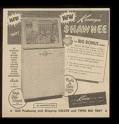 1959 Keeney Shawnee slot machine photo trade vintage print ad
