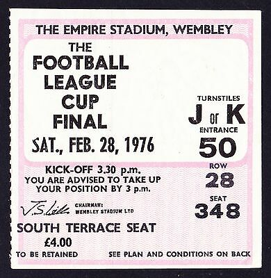 1976 League Cup Final MANCHESTER CITY v NEWCASTLE UNITED *Exc Condition Ticket*