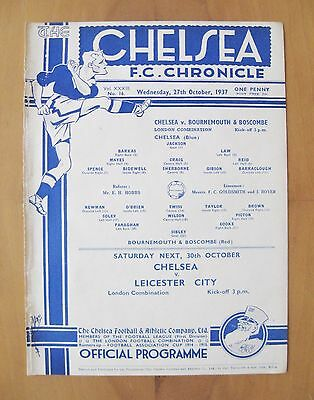 CHELSEA v BOURNEMOUTH Reserves 1937/1938 *VG Condition Football Programme*