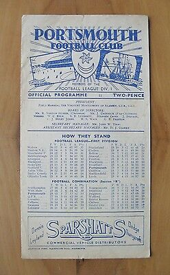 PORTSMOUTH v SOUTHEND UNITED Reserves Combination Cup 1946/1947 *VG Condition*