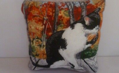 Cat Pin Cushion Cotton Front Harris Tweed back in Organza Gift Bag Made UK