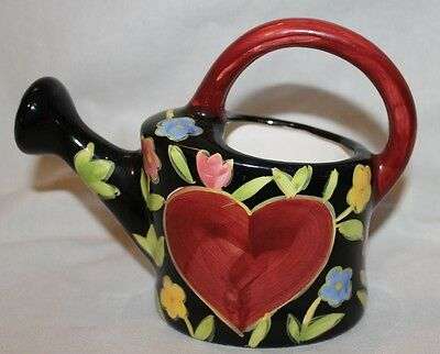 Watering Can Indoor Plants Porcelain Beautiful Flowers Big Red Heart Wcl