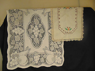 Vintage cotton table runners doilies diamond shaped rectangles white natural