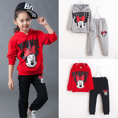 Baby Girl Mickey Minnie Clothes Kids Sports Joggers Pants Tops Outfits Tracksuit