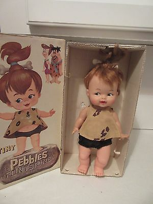 """Vintage 1964 Tiny Pebbles Flintstones Doll by Ideal Complete w box with bone 11"""""""