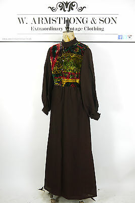 Vintage 70's Brown VELVET PAISLEY MAXI DRESS Hippie Bell Sleeve Boho UK 10