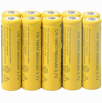 10x 18650 3.7V 9800mAh Yellow Li-ion Rechargeable Battery Cell For Torch
