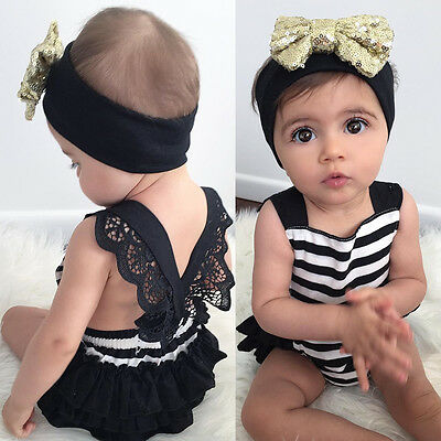 Newborn Kid Baby Girl Clothes Lace Jumpsuit Romper Bodysuit Headband Outfits Set