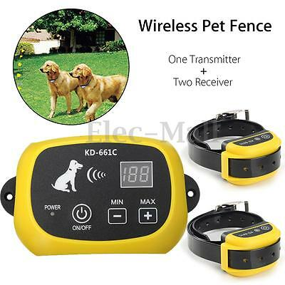 Wireless Pet Dog Fence Remote Training Containment System +2 Receiver Waterproof