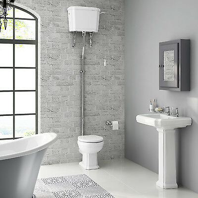 Traditional Gloss White Basin and Pedestal & High-Level Toilet Bathroom Suite