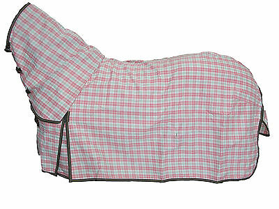Axiom Polycotton Pink & Green Check Ripstop Unlined Horse Combo Rug 5'9