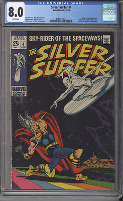 Silver Surfer # 4  Classic Thor Battle Issue !  CGC 8.0 scarce book !