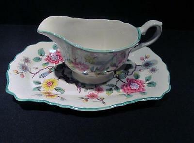 Old Foley James Kent Chinese Rose Vintage Tray with Creamer or Saucer Boat