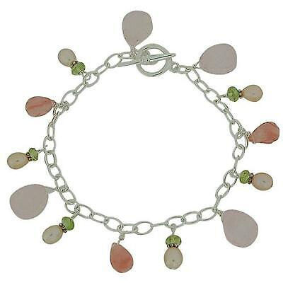 Toc Sterling Silver Pink Bead And Pearl T Bar Bracelet
