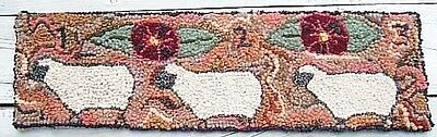 COUNTING SHEEP Primitive Rug Hooking  KIT WITH #8 CUT WOOL STRIPS