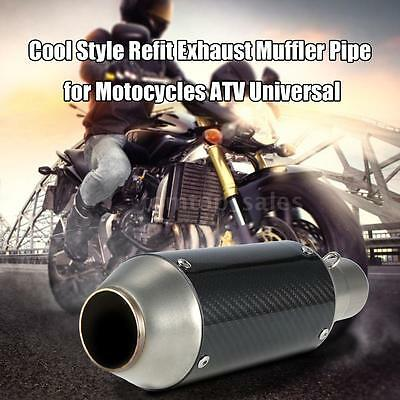 51mm Motorcycles Exhaust Muffler Pipe Removable Silencer Carbon Fiber Universal