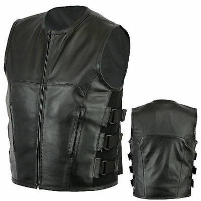 Motorcycle SWAT Style Leather Vest Biker Rider Security Stylish Waistcoat SMALL
