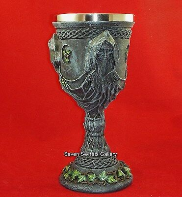 Triple Goddess Chalice Goblet Statue Pagan Women Ornament Mother Maiden Crone