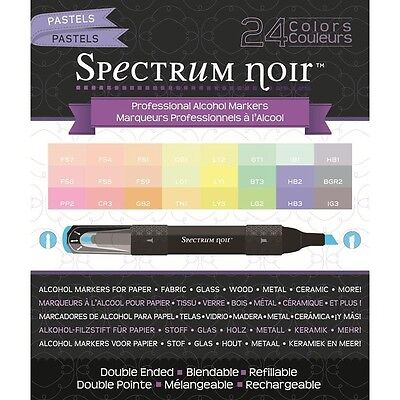 Crafters Companion Spectrum Noir Blendable Alcohol Based 24 Ink Pens Pastels
