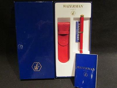 Waterman Red Ballpoint Pen New in Box with Red Case Warranty Card & Literature