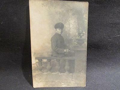 Very Young German Soldier in Uniform with cigarette WWI Real Photo B&W Postcard