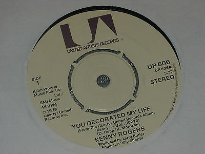 """Kenny Rogers:  You decorated my life     7""""  MINT UNPLAYED VINYL"""