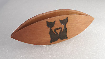 Beautiful handmade applewood tatting shuttle with engraved cats 3""