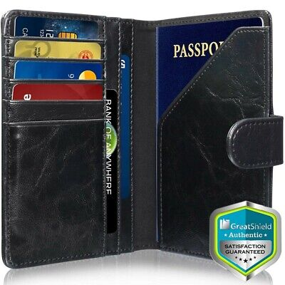 GreatShield RFID Blocking Leather 9 Slot Passport Holder Wallet Card Cover Case