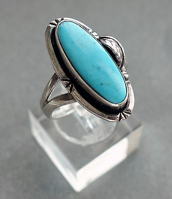 GFIS Mexico Sterling Silver & Turquoise Ring Size 9;D195