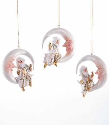 Katherine's Collection Set of Three Royal Santa on Moon Ornaments 28-628290