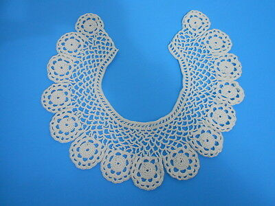 """Hand Crocheted Collar White Cotton Lace 4"""" Width"""