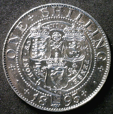 1895 Silver Shilling Great Britain UK Coin AU