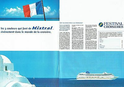 Publicité Advertising 1998 Le Paquebot Mistral Festival Croisières Breweriana, Beer Other Breweriana