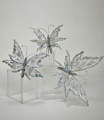 Katherine's Collection Set of Three Ice Butterfly Clip on Ornaments 17-570810