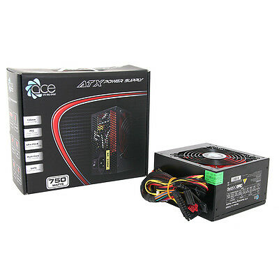 NEW! Ace 750W Br Black Psu With 12Cm Red Fan & Pfc