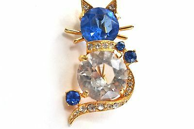 Eisenberg Cat Brooch Pin Blue and Clear