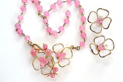 TRIFARI PINK Camellia Poured Glass Necklace & Earrings